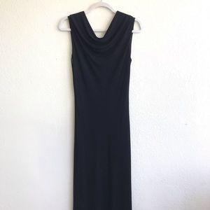 TAHARI Black Drape Neck Open Back Maxi Dress